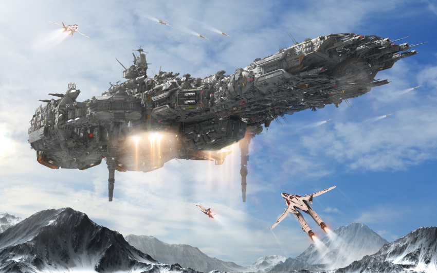 2018 3d absurdres antennae blue_sky choujikuu_yousai_macross clouds commentary dated derivative_work energy_cannon epic fleet flying gerwalk highres insignia machinery macross macross:_do_you_remember_love? macross_frontier mecha missile_pod mountain mountainous_horizon radar_dish railgun realistic redesign reference_work robotech roundel s.m.s. science_fiction sdf-1 signature sky snow space_craft thrusters u.n._spacy variable_fighter vf-25 yann-s