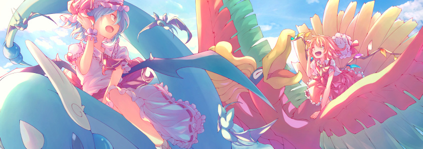 2girls ;d absurdres arm_support ascot bare_arms bat_wings blonde_hair blue_hair blue_sky bow closed_eyes commentary crossover crystal day dragonair dress flandre_scarlet floating_hair flying frilled_shirt_collar frilled_sleeves frills gen_1_pokemon gen_2_pokemon hand_up hat hat_bow hat_ribbon headwear_removed highres ho-oh jun700 looking_at_another medium_hair mob_cap multiple_girls one_eye_closed open_mouth orange_eyes outdoors pink_dress pokemon pokemon_(creature) puffy_short_sleeves puffy_sleeves red_bow red_neckwear red_ribbon red_skirt red_vest remilia_scarlet ribbon riding shirt short_hair short_sleeves siblings sisters skirt skirt_set sky smile touhou vest white_shirt wings wrist_cuffs yellow_eyes yellow_neckwear zubat