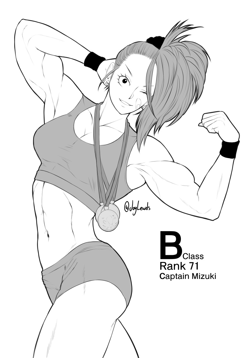 1girl abs absurdres ass bandaid bandaid_on_face bare_arms bare_shoulders biceps bike_shorts captain_mizuki character_profile eyelashes flexing gym_shorts highres joylewds legs looking_at_viewer medal midriff monochrome muscle muscular_female one-punch_man one_eye_closed ponytail pose short_hair shorts shoulders simple_background thighs tight white_background winking wrist_cuffs wristband