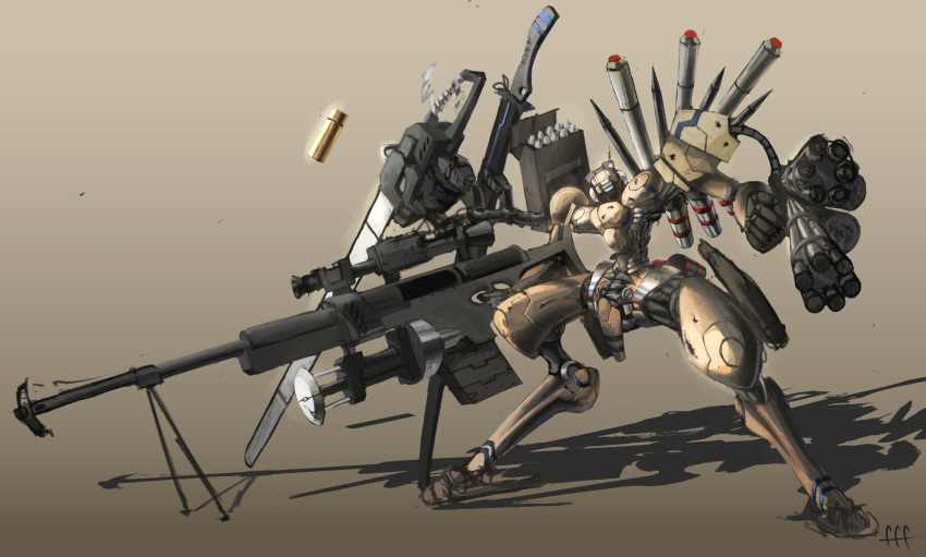 anti-materiel_rifle chainsaw digitigrade gatling_gun gun highres holding holding_gun holding_weapon huge_weapon karamas magazine_(weapon) mecha mechanical_parts minigun missile missile_pod multiple_wielding multishot_rocket_launcher no_humans original range_finder rifle robot rocket_launcher science_fiction scope shadow shell_casing sniper_rifle sniper_scope standing sword tripod weapon