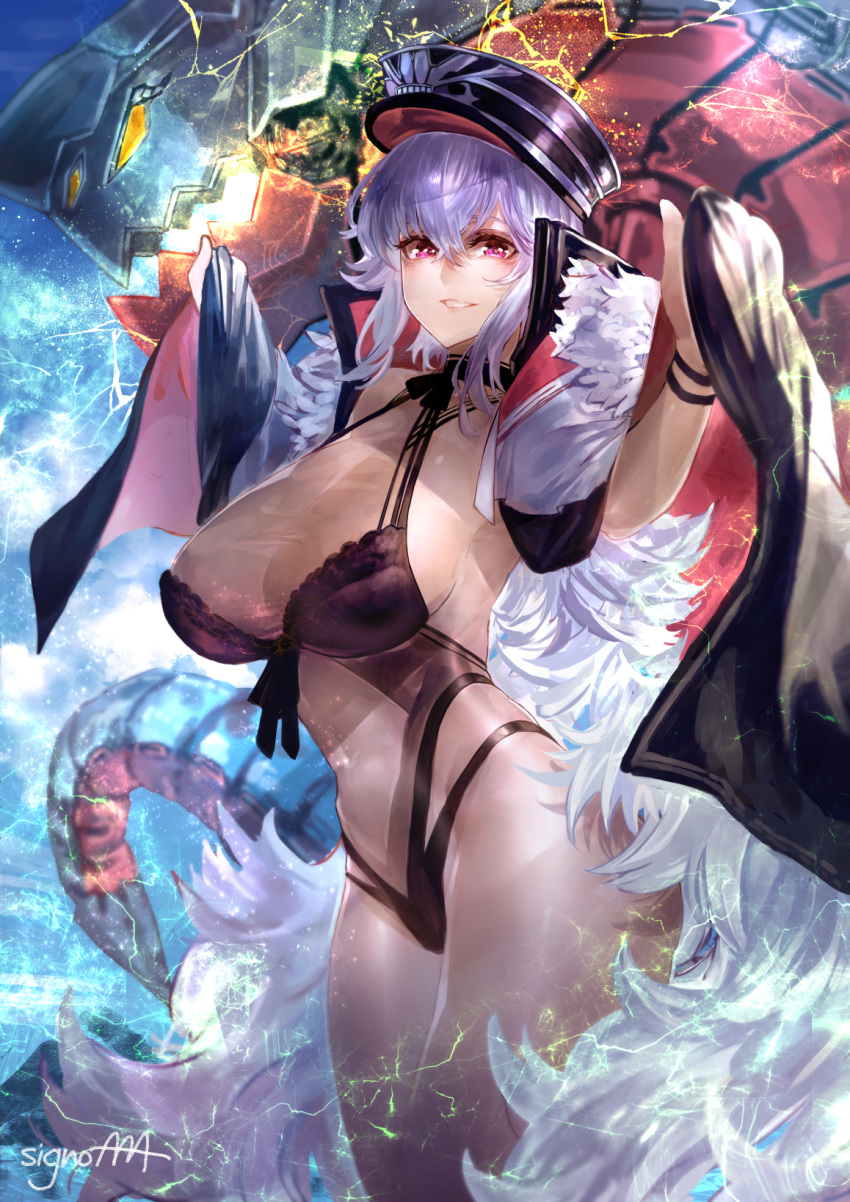 1girl armpits azur_lane bangs bare_shoulders black_swimsuit blush breasts cleavage coat collarbone cowboy_shot crossed_bangs electricity eyebrows_visible_through_hair flower gradient gradient_background graf_zeppelin_(azur_lane) groin hair_between_eyes hair_flower hair_ornament hands_up head_tilt highleg highres impossible_clothes impossible_swimsuit iron_cross jacket_on_shoulders large_breasts long_hair looking_at_viewer machinery messy_hair navel navel_cutout off_shoulder one-piece_swimsuit parted_lips petals red_eyes rigging see-through sidelocks signature signo_aaa silver_hair simple_background skindentation smile solo stomach swimming swimsuit taut_clothes taut_swimsuit thighs very_long_hair