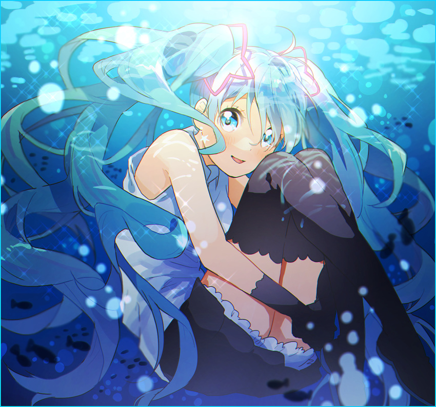 1girl air_bubble bare_arms blue_eyes blue_hair blush bubble earrings fish floating floating_hair full_body gloves happy hatsune_miku highres jewelry long_hair looking_at_viewer open_mouth shirt skirt sleeveless sleeveless_shirt smile solo_focus sparkle star star_earrings sunlight thigh-highs twintails underwater vocaloid water white_shirt yuya_kyoro