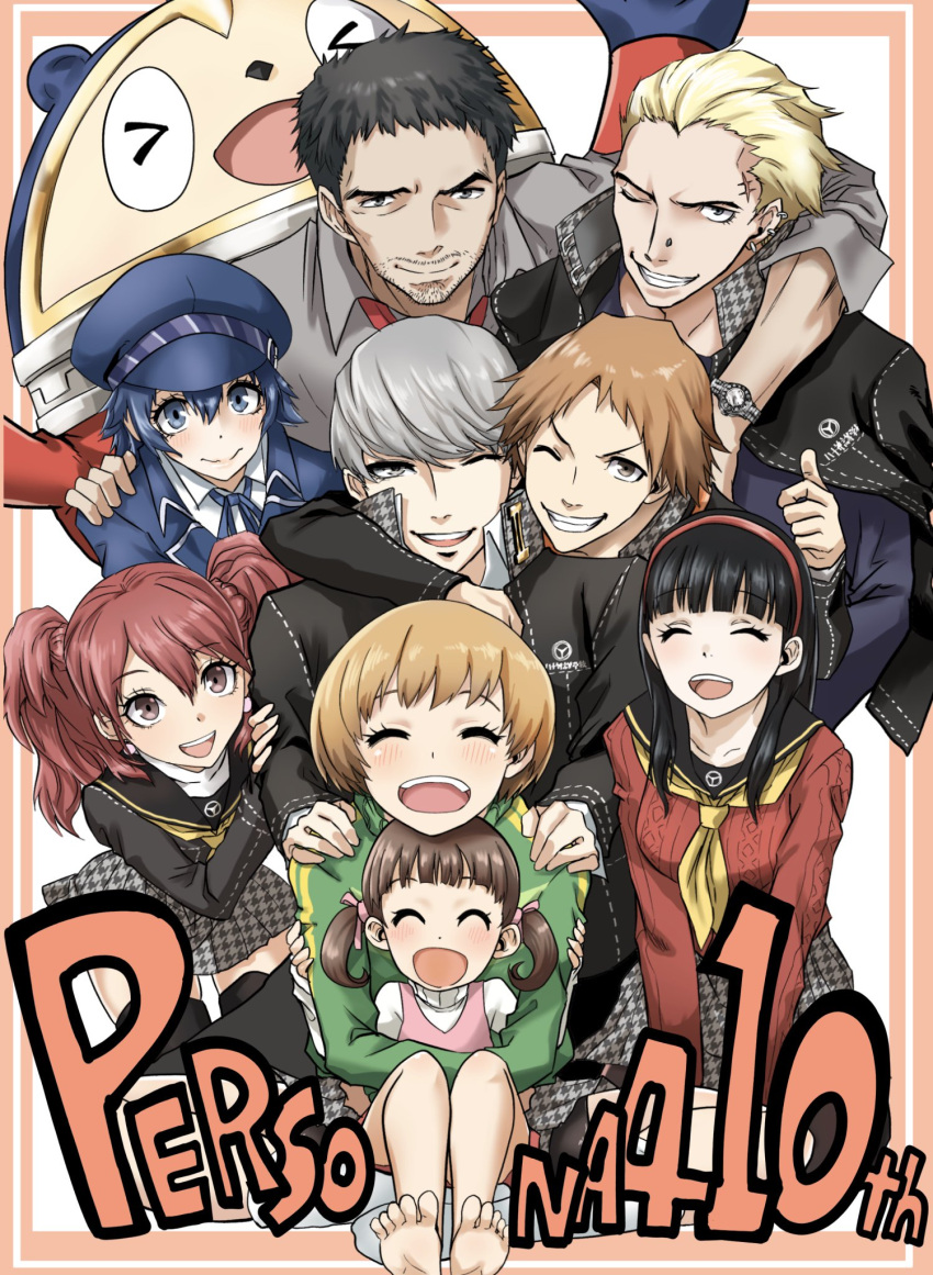 4boys 5girls amagi_yukiko androgynous anniversary barbell_piercing barefoot bear black_hair black_legwear blonde_hair blue_hair brown_hair cabbie_hat closed_eyes commentary_request doujima_nanako doujima_ryoutarou ear_piercing facial_hair gakuran grey_hair hanamura_yousuke hat highres houndstooth jacket_on_shoulders jolly_roger kujikawa_rise kuma_(persona_4) kurosususu long_hair multiple_boys multiple_girls narukami_yuu necktie nose_piercing one_eye_closed open_mouth pantyhose persona persona_4 piercing redhead reverse_trap satonaka_chie scar school_uniform serafuku shirogane_naoto stubble tatsumi_kanji thigh-highs tomboy twintails watch watch widow's_peak yasogami_school_uniform