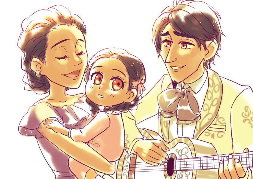 1boy 2girls acoustic_guitar black_hair bow braid braided_bun brown_eyes charro child closed_eyes coco_(disney) dark_skin dark_skinned_male disney dress earrings facial_hair family father_and_daughter goatee guitar hector_rivera hector_rivera_(alive) imelda_rivera imelda_rivera_(alive) instrument jacket jewelry long_hair mama_coco mexican_dress mother_and_daughter multiple_girls music playing_instrument short_hair singing smile spoilers twin_braids younger