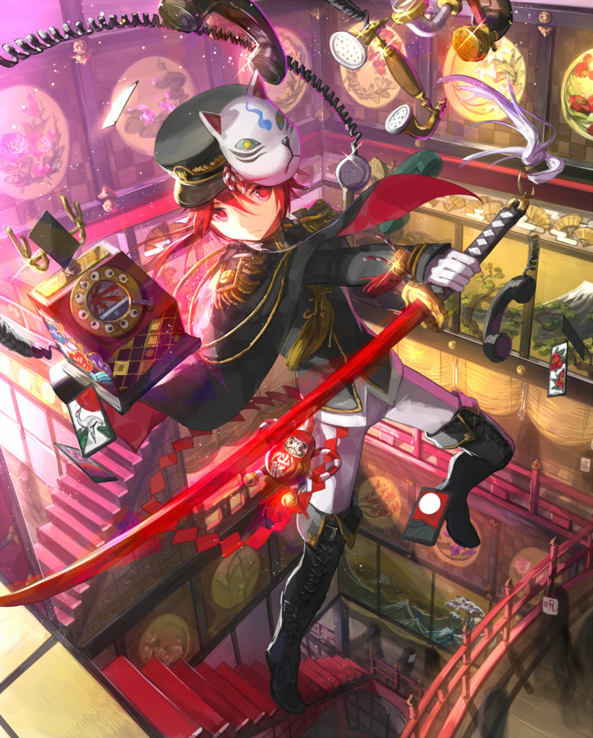 1boy card cloak daruma_doll elsword elsword_(character) gloves hat highres katana mask mask_on_head phone red_eyes redhead scorpion5050 stairs sword tagme uniform weapon