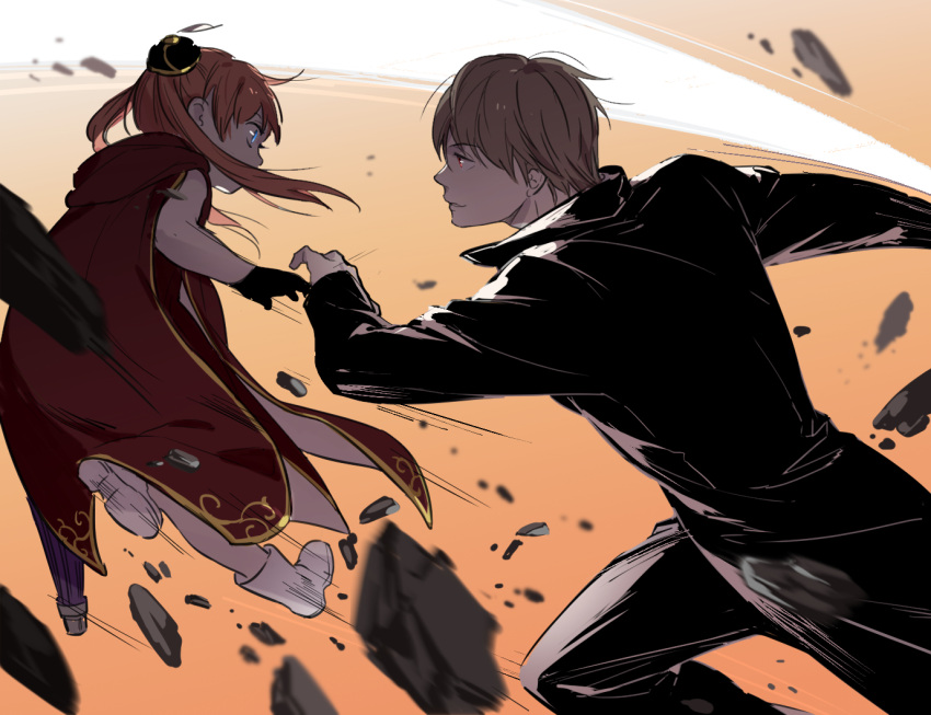 1boy 1girl black_gloves black_jacket black_pants blue_eyes boots brown_hair child fighting from_side gintama gloves hair_bun jacket kagura_(gintama) loli_bushi long_hair okita_sougo pants twintails uniform white_footwear
