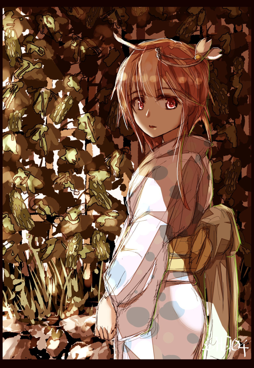 1girl belt blush dress eyebrows_visible_through_hair floral_background flower hair_flower hair_ornament highres i-58_(kantai_collection) japanese_clothes kantai_collection kimono long_dress long_sleeves medium_hair open_mouth outdoors red_eyes redhead seitei_(04seitei) solo yukata