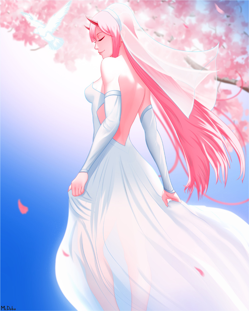 1girl backless_dress backless_outfit bare_shoulders bird blurry blurry_background bridal_veil cherry_blossoms closed_eyes closed_mouth darling_in_the_franxx detached_sleeves dress from_behind highres long_hair mcdobo petals pink_hair red_horns smile solo standing strapless strapless_dress veil wedding_dress white_dress wind zero_two_(darling_in_the_franxx)