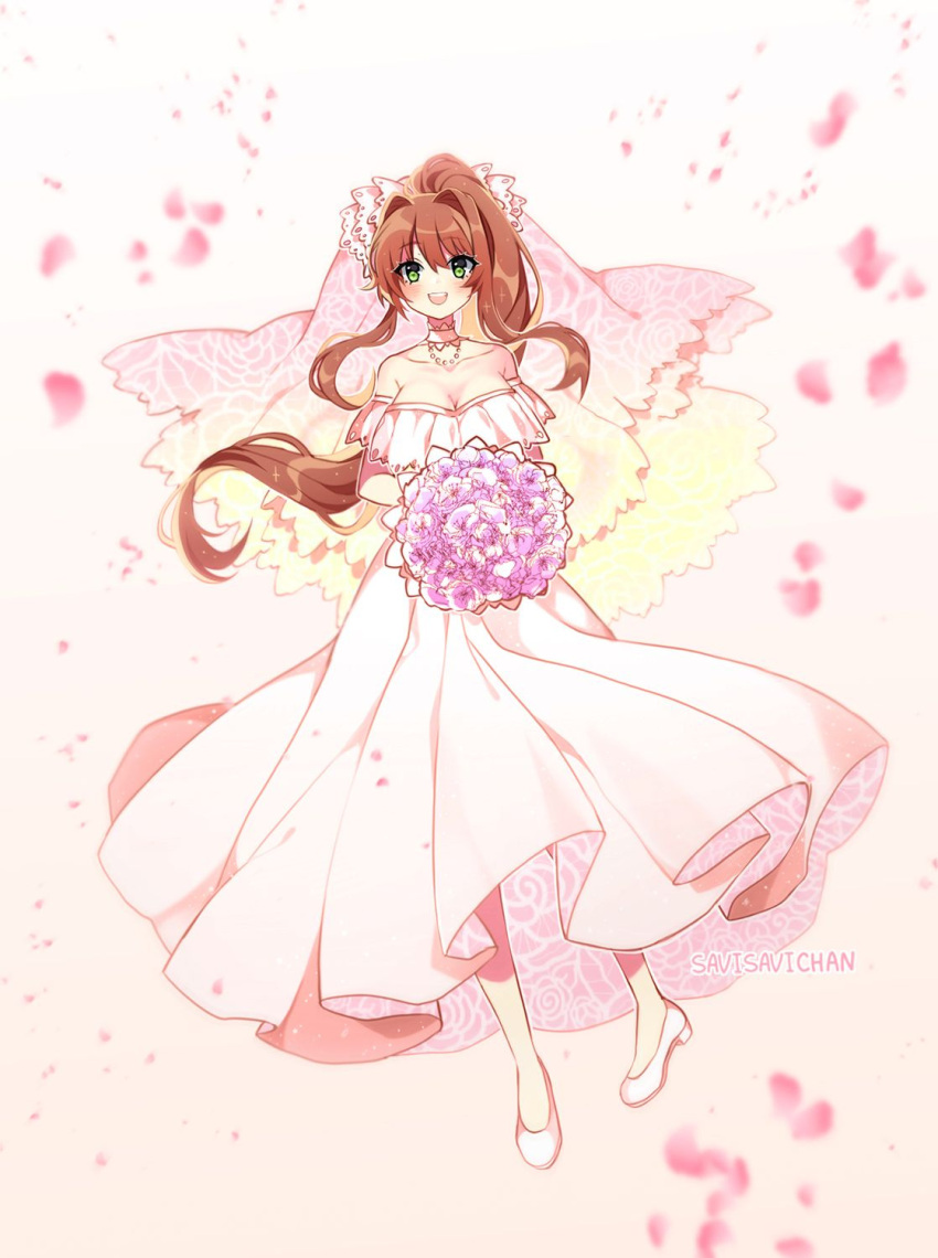 1girl :d artist_name bare_shoulders bouquet breasts bridal_veil bride brown_hair choker cleavage collarbone commentary doki_doki_literature_club dress english_commentary eyebrows_visible_through_hair eyes_visible_through_hair flower full_body green_eyes highres large_breasts long_hair looking_at_viewer monika_(doki_doki_literature_club) open_mouth petals ponytail savi_(byakushimc) shoes smile solo strapless strapless_dress veil wedding_dress white_choker white_dress white_footwear