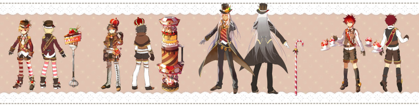 4boys absurdres add_(elsword) black_hair blonde_hair cake candy candy_cane cannon chung_seiker crown design elsword food fork hat highres ice_cream long_hair long_sleeves multiple_boys raven_(elsword) red_eyes redhead scorpion5050 very_long_hair white_hair