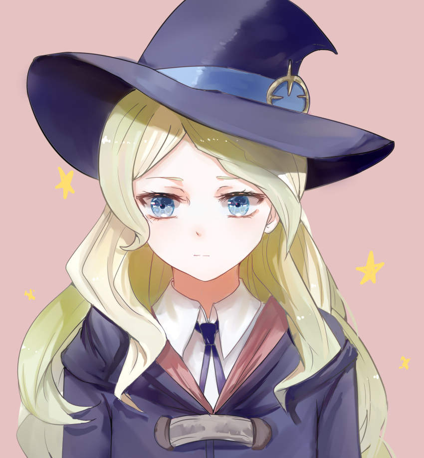 1girl bangs blonde_hair blue_eyes blue_hat blue_ribbon diana_cavendish hat hat_ribbon highres little_witch_academia long_hair neck_ribbon parted_bangs pink_background ribbon shirt solo upper_body white_shirt witch_hat yutsuki_(pixiv4894196)