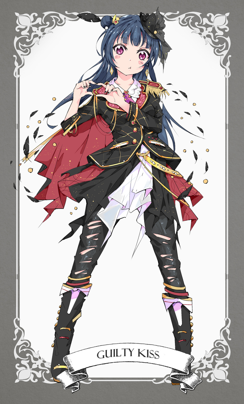 1girl :t bangs black_feathers black_nails black_pants blue_hair blush_stickers boots border cape earrings epaulettes feathers full_body grey_border group_name hair_feathers heart heart_hands highres jewelry long_hair long_sleeves love_live! love_live!_sunshine!! nail_polish pants qianqian side_bun solo strap suit_jacket torn_clothes torn_pants tsushima_yoshiko violet_eyes