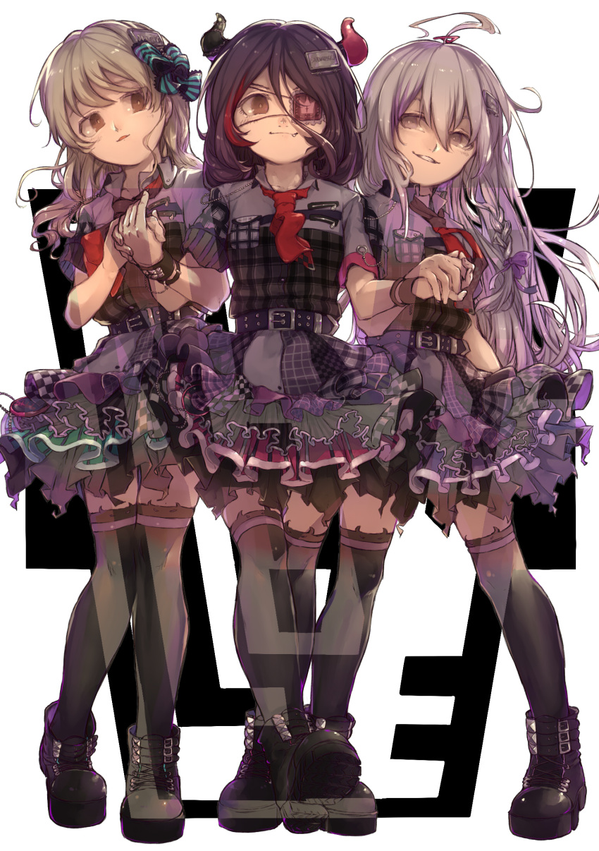 3girls ahoge bangs boots bow braid brown_eyes chains checkered commentary_request eyepatch fake_horns fang full_body grey_eyes grin hair_between_eyes hair_bow hair_ornament hairclip hand_holding hayasaka_mirei highres horn_band_legwear horn_ornament hoshi_shouko idol idolmaster idolmaster_cinderella_girls idolmaster_cinderella_girls_starlight_stage individuals light_brown_hair long_hair looking_at_viewer morikubo_nono multicolored_hair multiple_girls necktie open_mouth purple_hair sanmon_(mekko0929) short_hair silver_hair single_braid skirt smile thigh-highs white_background
