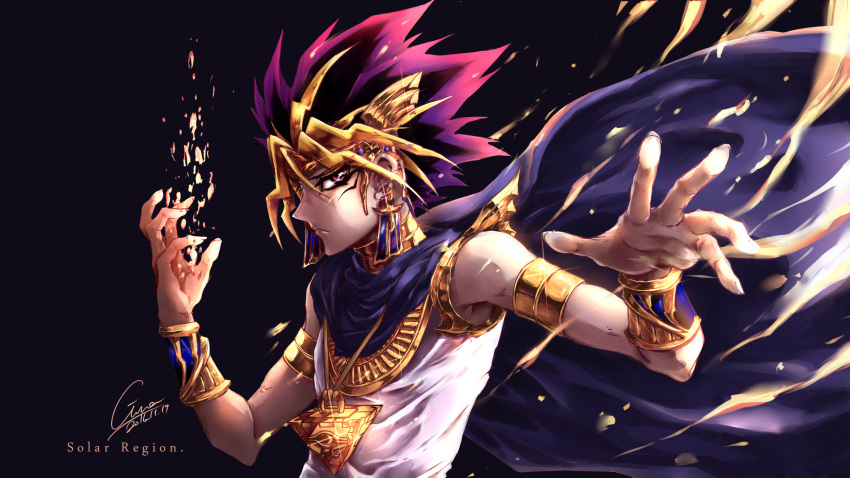 1boy 2016 atem black_background hair_between_eyes highres looking_at_viewer red_eyes ryou_(pixiv2999205) shirt signature sleeveless sleeveless_shirt spiky_hair upper_body white_shirt wrist_cuffs yu-gi-oh!