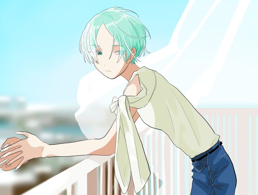 1boy alternate_costume blurry blurry_background colored_eyelashes curtains denim expressionless eyes_visible_through_hair green_eyes green_hair highres houseki_no_kuni humanization jeans leaning_on_rail looking_at_viewer ninjin_(fmdp2854) pants phosphophyllite short_hair solo veranda