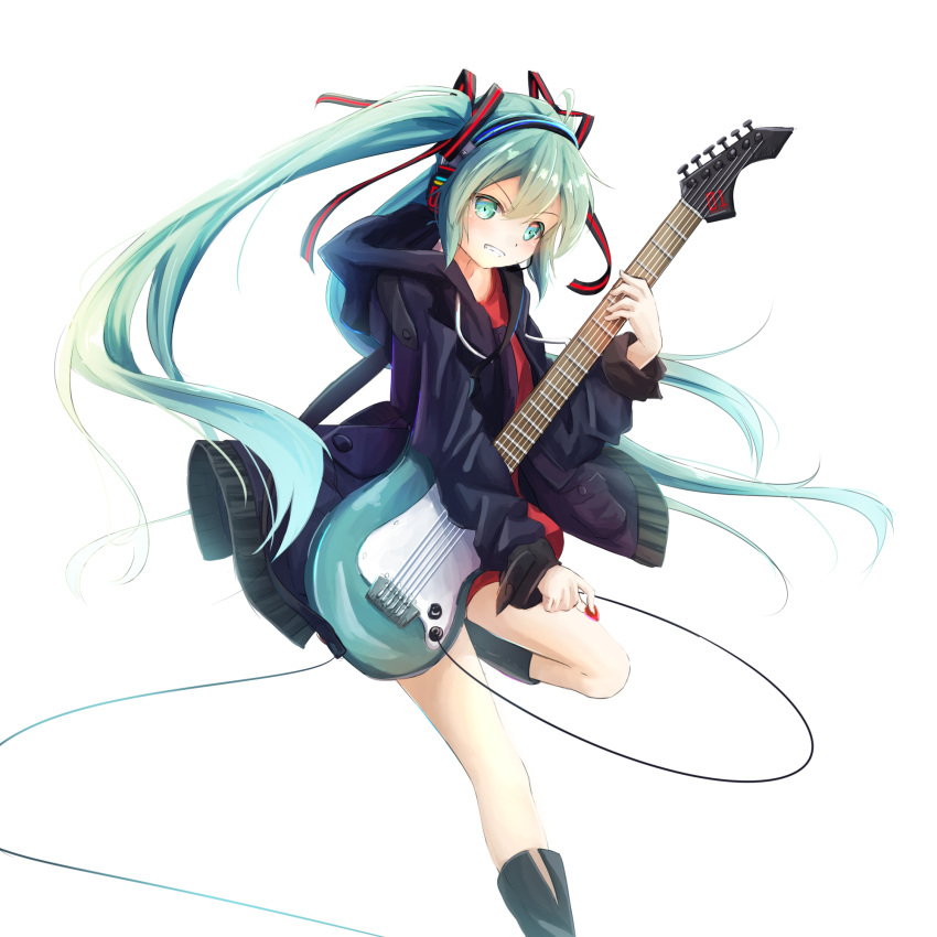 1girl aqua_eyes aqua_hair black_coat black_footwear blush floating_hair grin guitar hatsune_miku headphones highres holding holding_instrument instrument leg_up long_hair red_shirt shirt simple_background smile solo standing standing_on_one_leg utatanecocoa very_long_hair vocaloid white_background