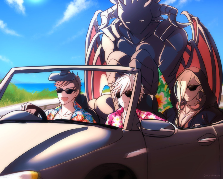4boys avatar_(granblue_fantasy) beelzebub_(granblue_fantasy) belial_(granblue_fantasy) black_hair braid car convertible driving granblue_fantasy ground_vehicle hawaiian_shirt highres horns long_hair lucilius_(granblue_fantasy) male_focus motor_vehicle multiple_boys open_mouth pectorals shirt shorts sitting smile sunglasses white_hair