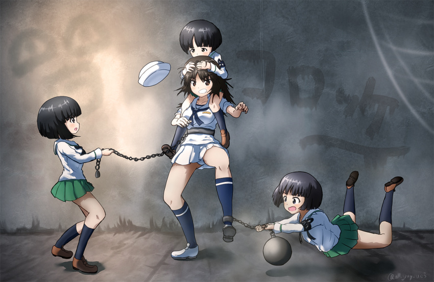 4girls ball_and_chain_restraint bangs black_eyes black_hair black_legwear black_neckwear blouse blunt_bangs bob_cut brown_footwear carrying chains commentary_request cuffs dixie_cup_hat eyebrows_visible_through_hair falling fighting from_side frown girls_und_panzer gotou_moyoko graffiti green_skirt grimace haiiro_purin hat hat_removed head_grab headwear_removed kneehighs konparu_nozomi loafers long_hair long_sleeves looking_at_another military_hat miniskirt multiple_girls murakami_(girls_und_panzer) navy_blue_legwear navy_blue_neckwear neckerchief ooarai_naval_school_uniform ooarai_school_uniform open_mouth panties pantyshot pantyshot_(standing) partial_commentary pleated_skirt print_legwear sailor sailor_collar school_uniform serafuku shackles shoes short_hair shoulder_carry single_horizontal_stripe skirt sleeves_rolled_up socks sono_midoriko standing standing_on_one_leg twitter_username underwear white_blouse white_footwear white_hat white_panties white_skirt