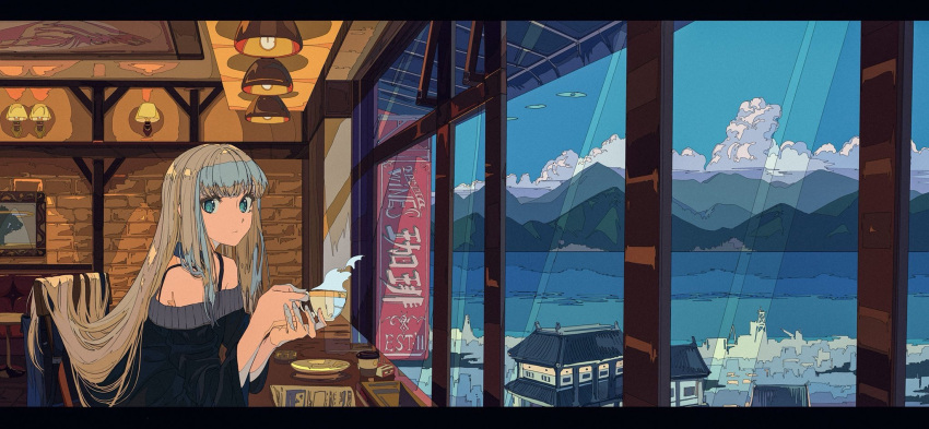 1girl brick_wall check_commentary clouds cloudy_sky commentary_request cup harbor highres kogecha_(coge_ch) lamp mountain ocean original restaurant sky solo teacup town window
