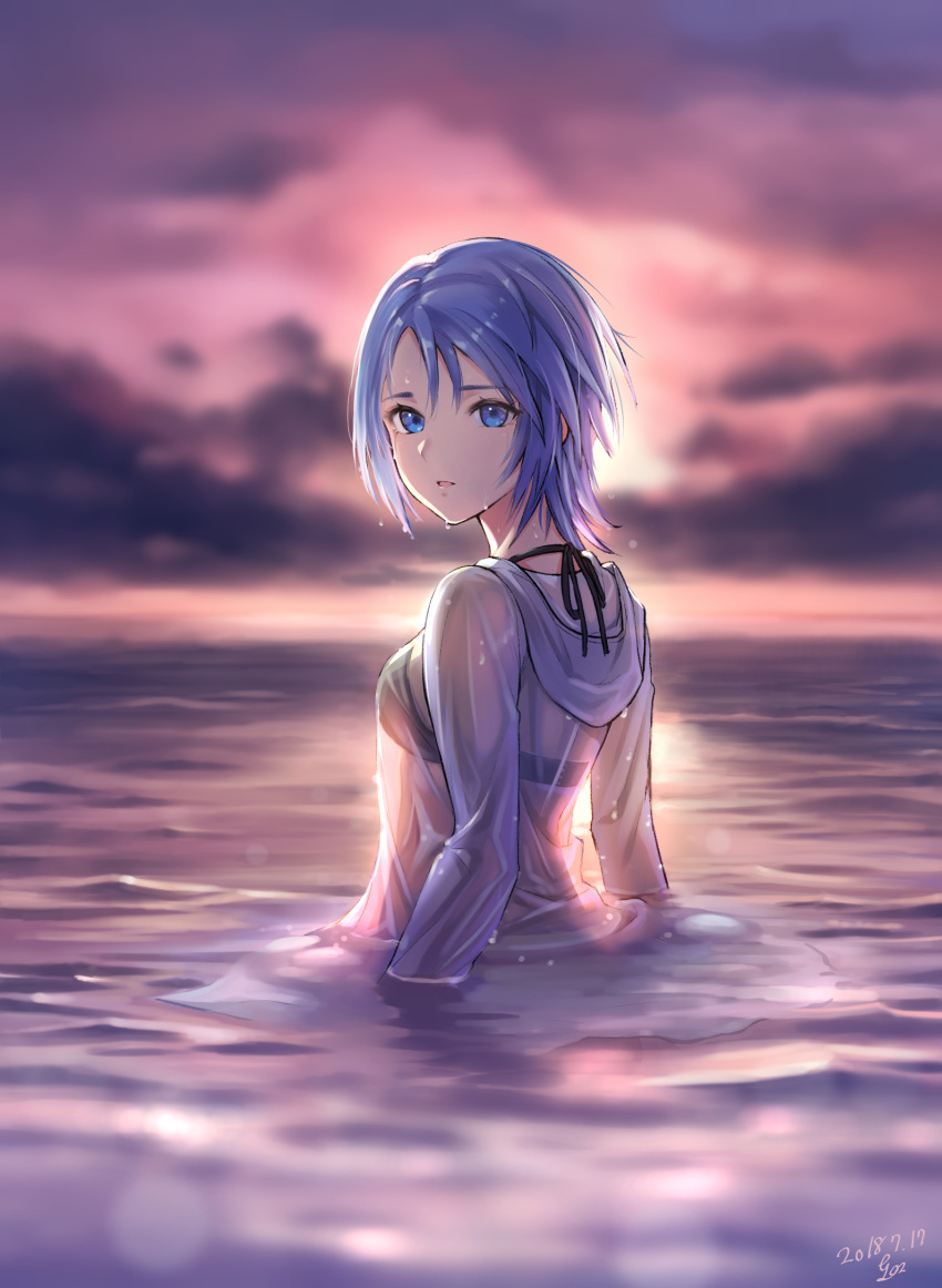 1girl 2018 aqua_(kingdom_hearts) bikini bikini_top bikini_under_clothes black_bikini blue_eyes blue_hair clouds dated gogo_(detteiu_de) highres hood hood_down hoodie kingdom_hearts kingdom_hearts_birth_by_sleep looking_at_viewer looking_back ocean open_mouth partially_submerged purple_sky see-through shirt short_hair solo sunset swimsuit upper_body water wet wet_clothes wet_shirt