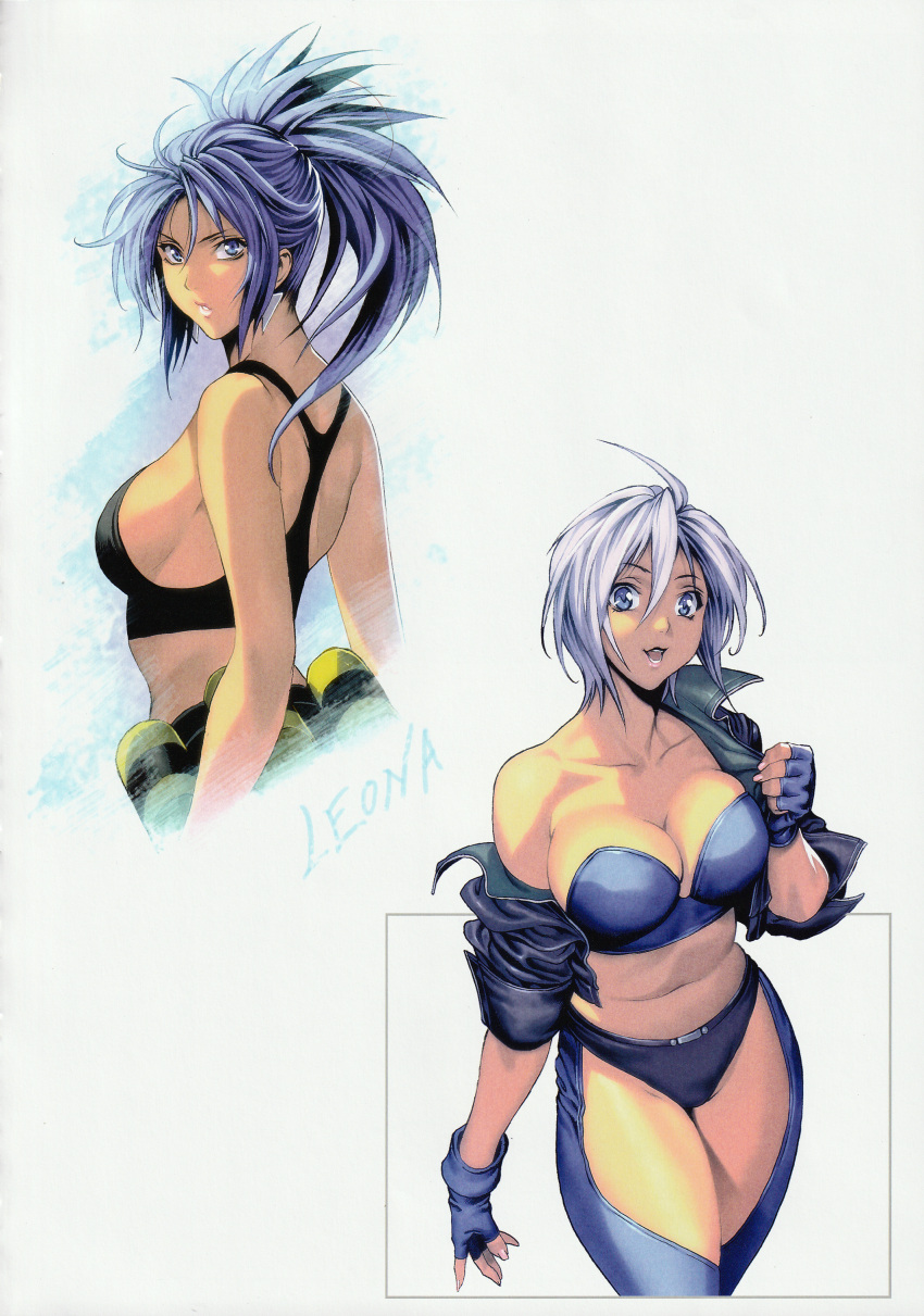2girls :d absurdres ahoge angel_(kof) bandolier bare_shoulders blue_bra blue_eyes blue_hair bra breasts chaps cleavage collarbone cowboy_shot earrings explosive fingerless_gloves gloves grenade highres homare_(fool's_art) huge_filesize jacket jewelry large_breasts leona_heidern looking_at_viewer looking_back midriff multiple_girls navel off_shoulder open_clothes open_jacket open_mouth ponytail short_hair sideboob simple_background sleeves_pushed_up smile standing tank_top the_king_of_fighters underwear white_background white_hair