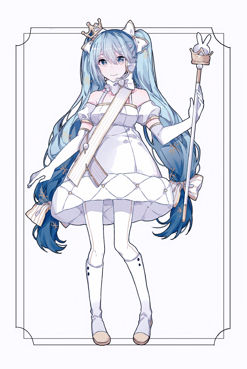 1girl absurdres bad_id bad_pixiv_id bangs bare_shoulders blue_eyes blue_hair boots bow copyright_request crown elbow_gloves full_body gloves gocoli hair_bow hatsune_miku headphones highres holding long_hair looking_at_viewer microphone mini_crown pantyhose smile solo standing twintails very_long_hair vocaloid wand white_background white_bow white_footwear white_gloves white_legwear