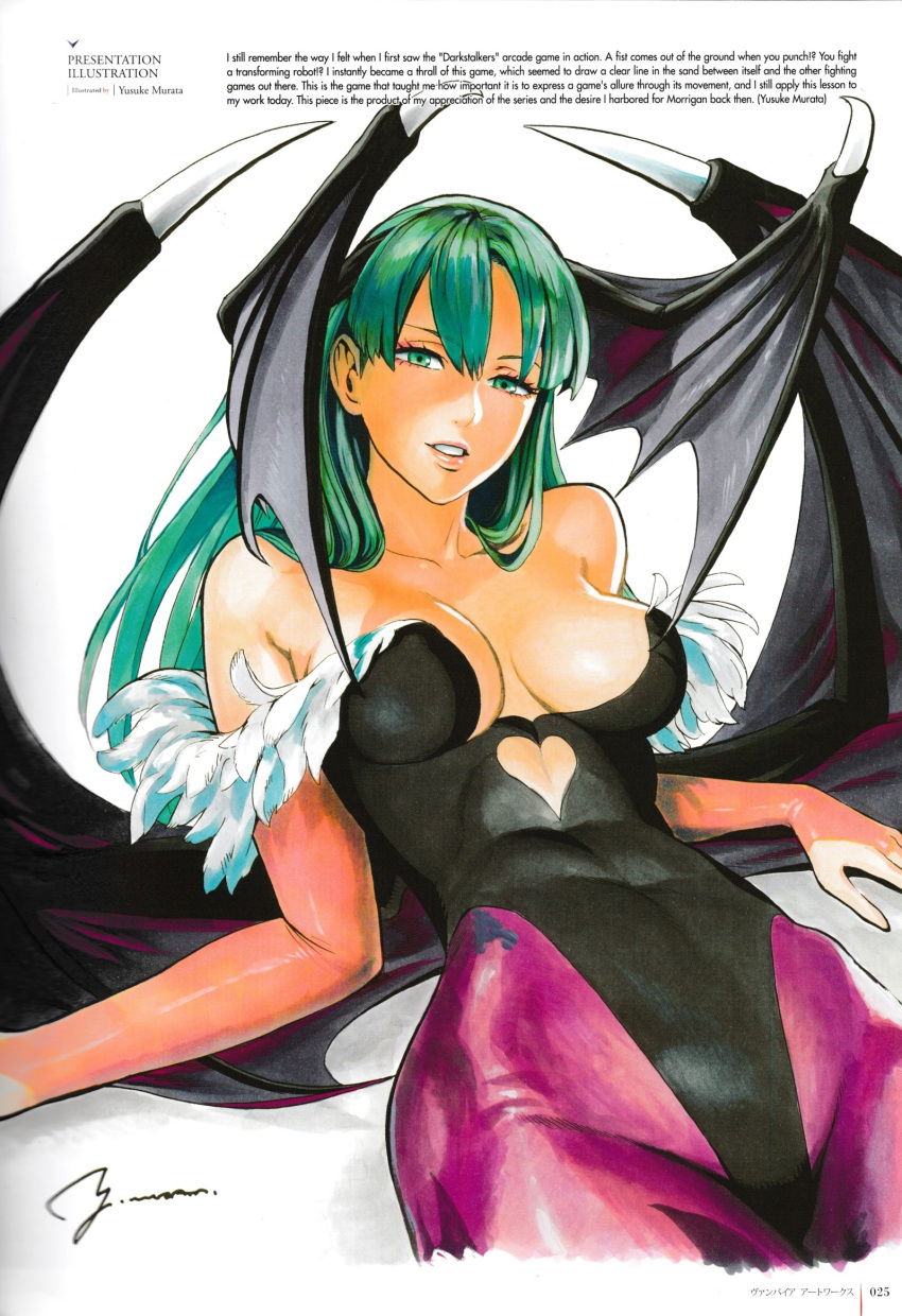 1girl artist_name bangs bare_shoulders bat_wings breasts bridal_gauntlets cleavage collarbone covered_navel demon_girl elbow_gloves feather_trim gloves green_eyes green_hair head_wings highleg highleg_leotard highres large_breasts leotard looking_at_viewer morrigan_aensland murata_yuusuke official_art page_number pantyhose parted_lips photo scan signature simple_background solo succubus vampire_(game) wings