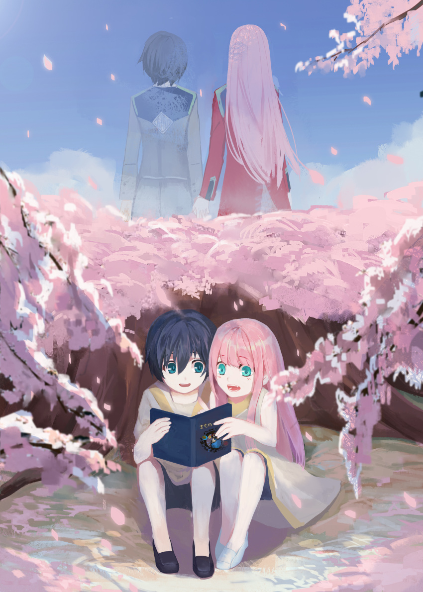 1boy 1girl absurdres bangs bare_shoulders black_footwear black_hair blue_eyes blue_sky book cherry_blossoms chu_dengdeng clouds cloudy_sky collarbone commentary_request couple darling_in_the_franxx day dual_persona eyebrows_visible_through_hair green_eyes hand_holding hetero highres hiro_(darling_in_the_franxx) holding holding_book huge_filesize long_hair long_sleeves military military_uniform no_socks open_book open_mouth petals pink_hair purple_footwear shirt shoes short_hair shorts sitting sky sleeveless sleeveless_shirt tree uniform white_footwear white_shirt younger zero_two_(darling_in_the_franxx)