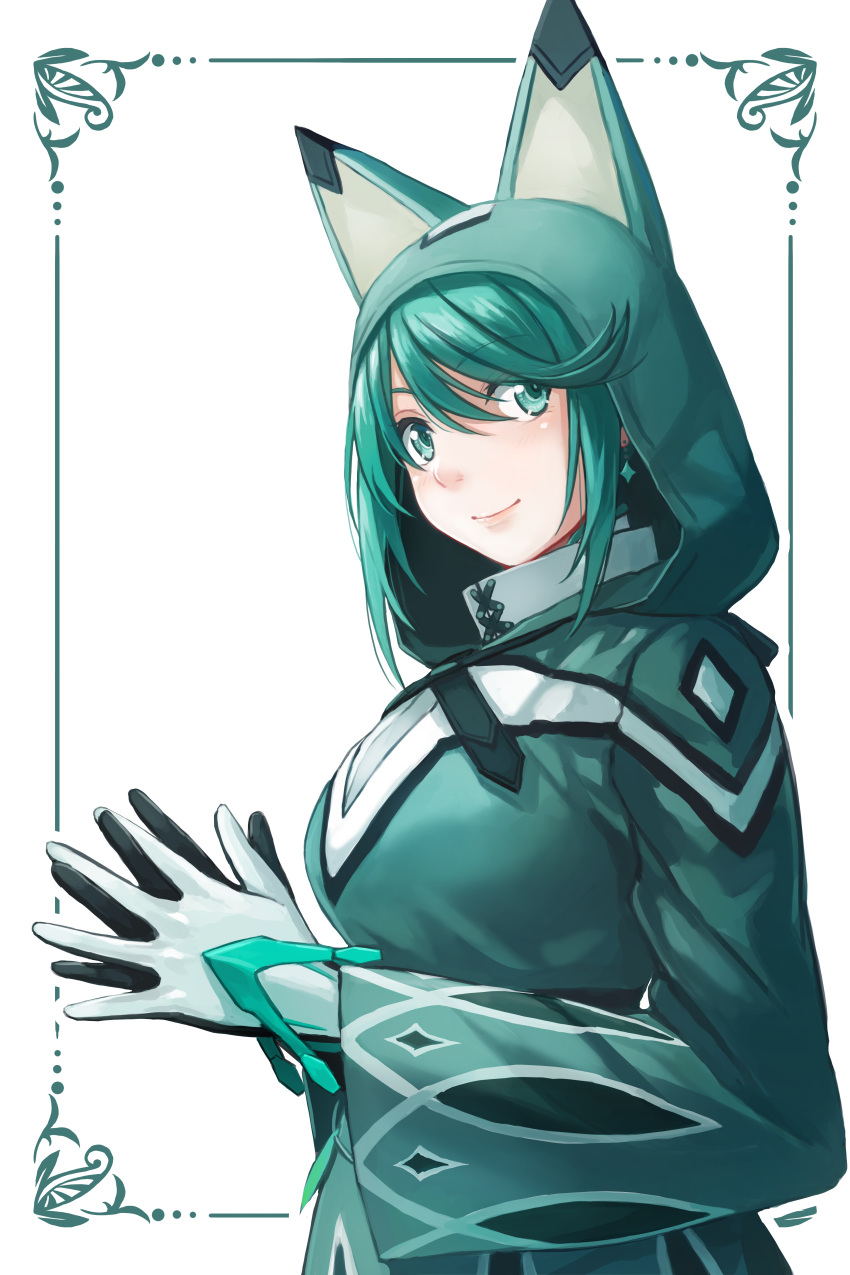 1girl absurdres animal_hood cloak closed_mouth commentary earrings eyebrows_visible_through_hair fingers_together from_side gloves green green_eyes green_hair highres hood hood_up hooded_cloak jewelry long_sleeves looking_at_viewer looking_to_the_side pneuma_(xenoblade_2) redpoke romaji_commentary smile solo upper_body white_background white_gloves xenoblade_(series) xenoblade_2