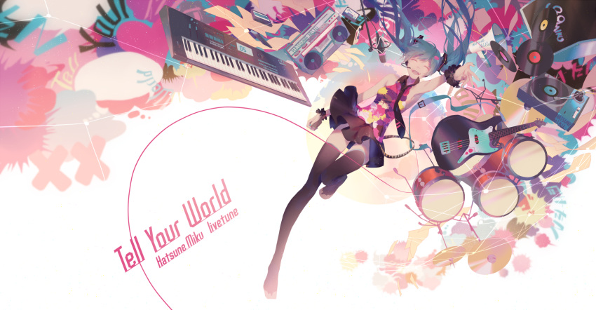 1girl :d ^_^ bare_shoulders black_legwear black_skirt blue_hair blue_nails boombox character_name closed_eyes closed_eyes collared_shirt commentary_request drum drum_set electric_guitar english facing_viewer fingernails guitar hair_ornament hatsune_miku headset highres instrument keyboard_(instrument) long_hair megaphone nail_polish no_shoes open_mouth outstretched_arm pleated_skirt record shirt skirt sleeveless sleeveless_shirt smile solo spencer_sais tell_your_world_(vocaloid) thigh-highs twintails upper_teeth vocaloid