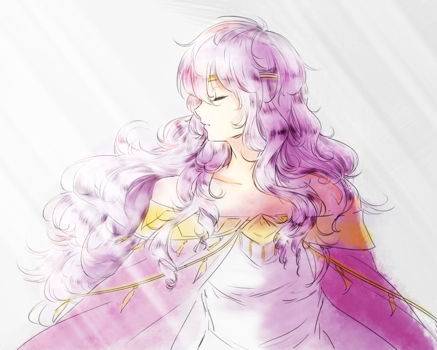 1girl cape circlet closed_eyes diadora_(fire_emblem) dress fire_emblem fire_emblem:_seisen_no_keifu highres jewelry lavender_hair lithety long_hair purple_hair simple_background smile solo