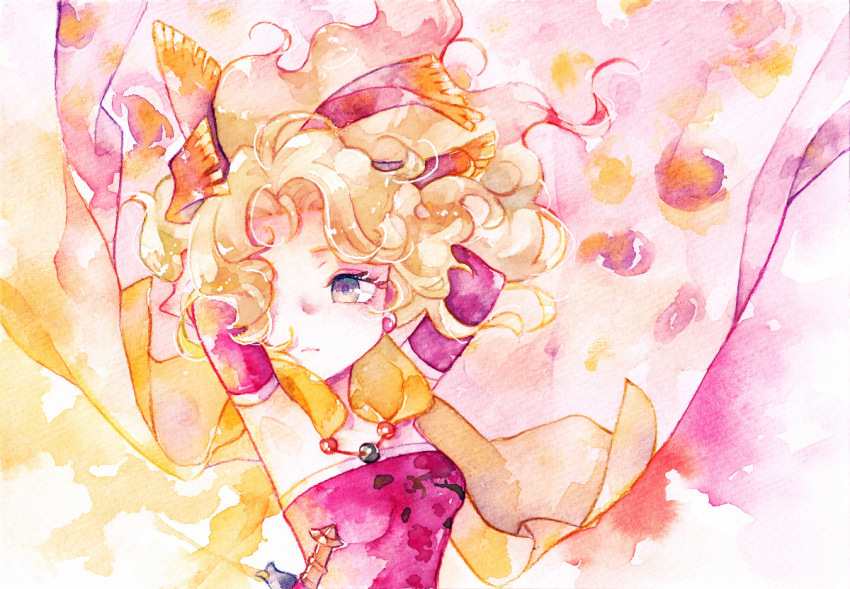 1girl arms_behind_head arms_up blonde_hair breasts cape closed_mouth detached_sleeves earrings final_fantasy final_fantasy_vi frown hair_intakes jewelry long_hair ponytail rrrpct small_breasts solo tina_branford traditional_media upper_body violet_eyes watercolor_(medium) wavy_hair yellow_cape