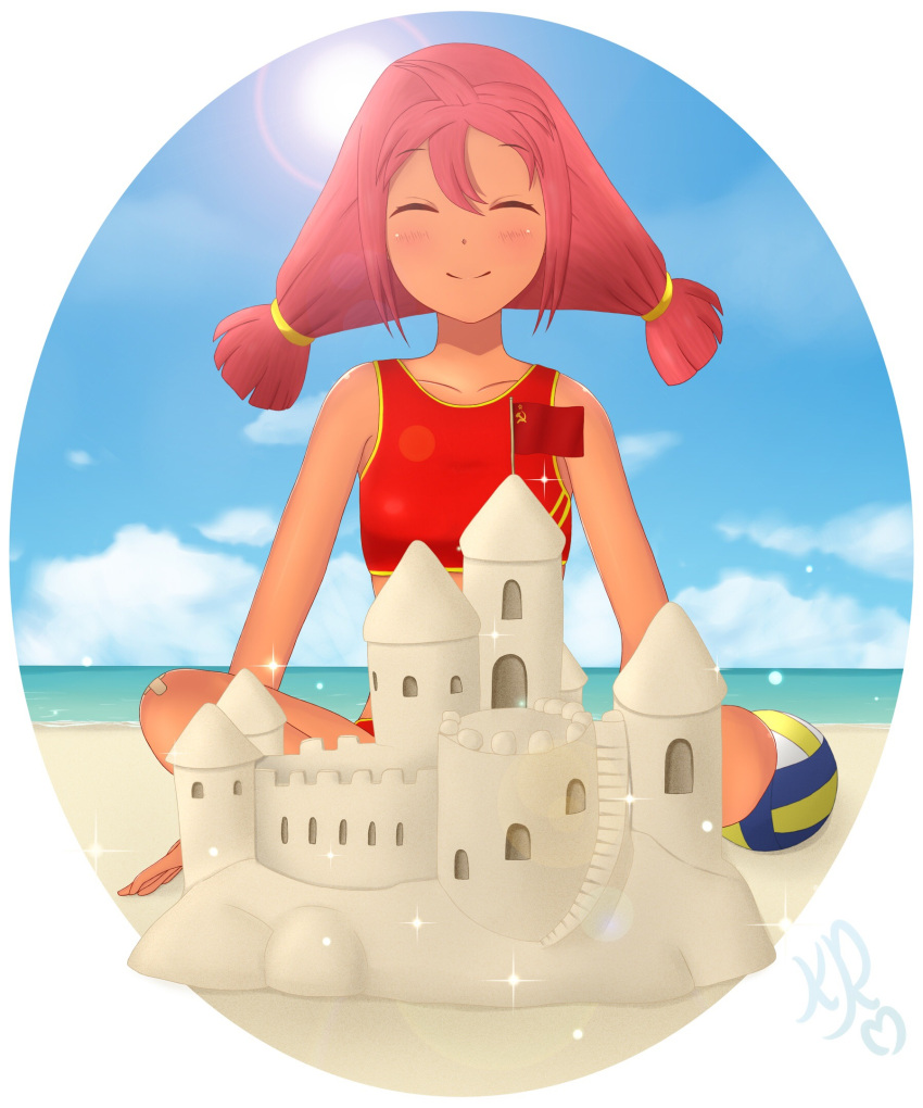 1girl beach blush closed_eyes clouds kerrr redhead sand sky smile solo sportswear sunlight tied_hair twintails