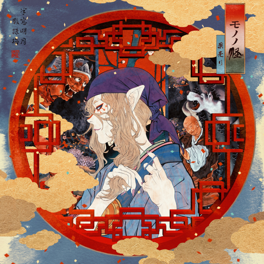 1boy bandanna blonde_hair blue_eyes facepaint fingernails highres japanese_clothes jewelry kimono kusuriuri_(mononoke) long_fingernails long_hair makeup male_focus mononoke oni pointy_ears smile solo