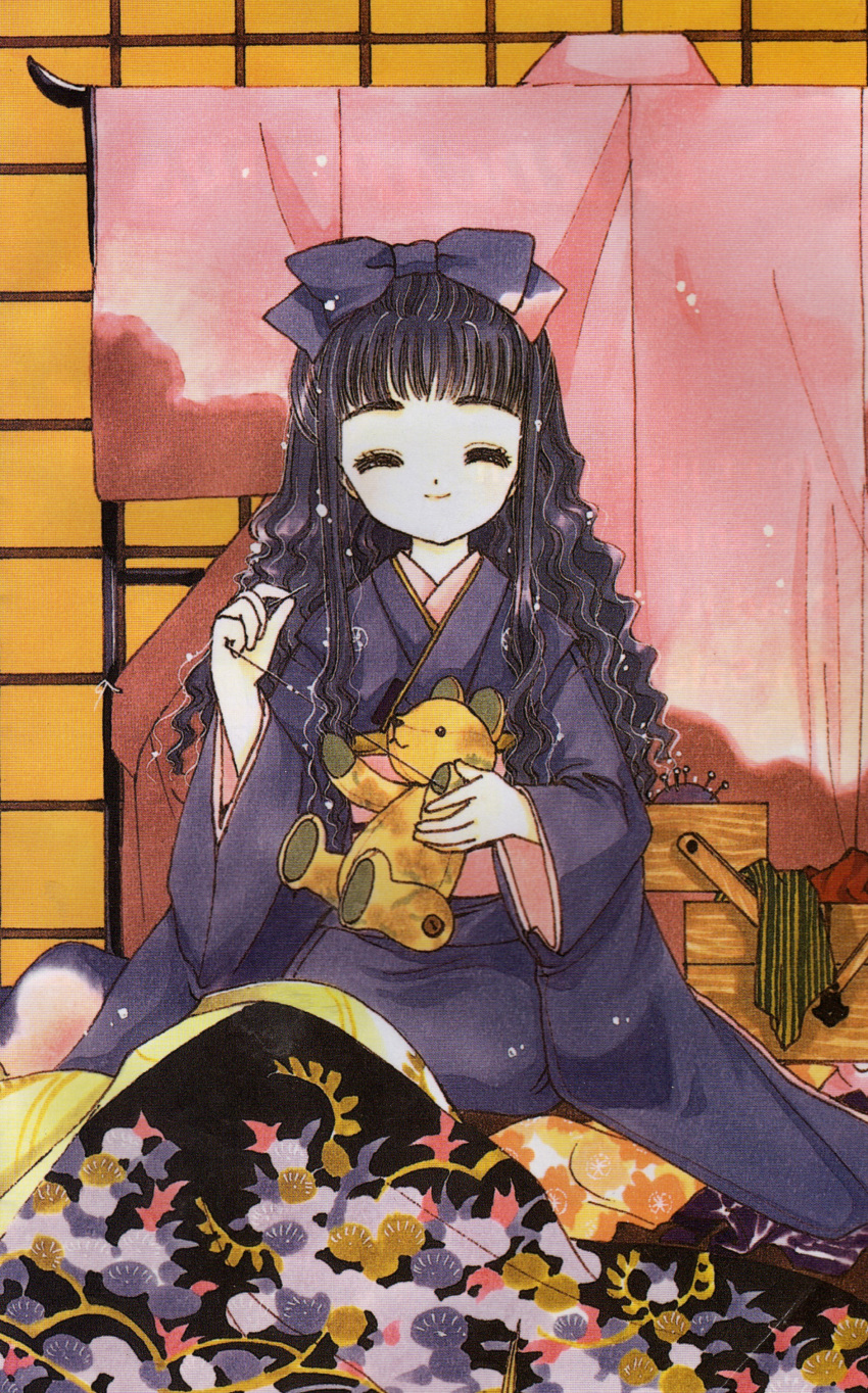 black_hair card_captor_sakura cardcaptor_sakura clamp daidouji_tomoyo highres japanese_clothes kimono sewing