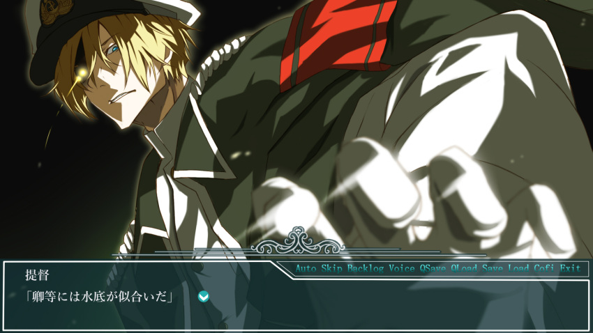 1boy admiral_(kantai_collection) armband blonde_hair blue_eyes clenched_teeth commentary_request dies_irae fake_screenshot gloves glowing glowing_eye hat highres jacket_on_shoulders kantai_collection light_trail looking_at_viewer peaked_cap reinhard_tristan_eugen_heydrich shaded_face teeth tnk_(p_freaks) translation_request