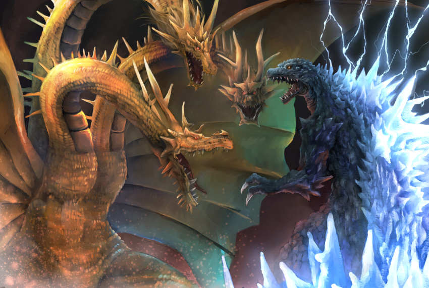 battle claws commentary dragon glowing godzilla godzilla_(series) gold greymon_(nodoame1215) horns kaijuu king_ghidorah lightning monster multiple_heads no_humans open_mouth orange_eyes red_eyes scales sharp_teeth short_hair tail teeth wings yellow_eyes