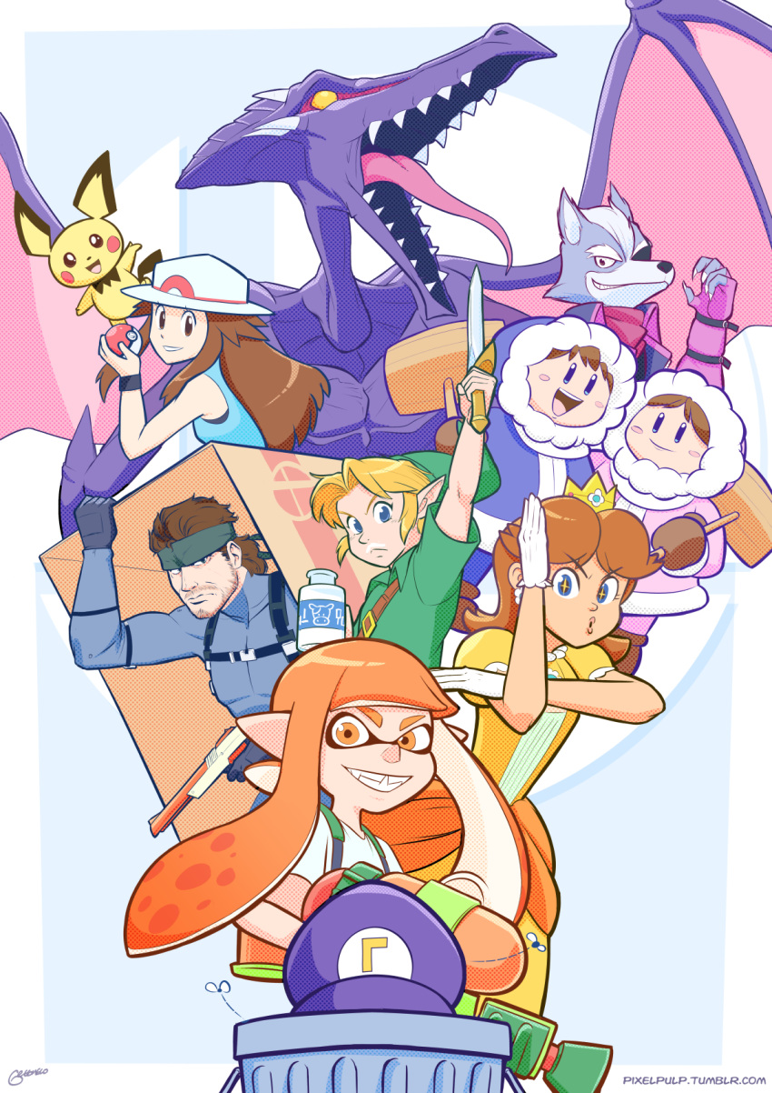 4boys 4girls alien beard blonde_hair blue_(pokemon) blue_eyes box brown_hair bug crown domino_mask dragon dress earrings eyepatch facial_hair fangs flower_earrings fly gen_2_pokemon gloves hammer hat headband highres hood ice_climber ice_climbers ink_tank_(splatoon) inkling insect jewelry left-handed link long_hair looking_at_viewer mario_(series) mask metal_gear_(series) metal_gear_solid metroid milk monster multiple_boys multiple_girls mustache nana_(ice_climber) open_mouth pichu pixelpulp pointy_ears poke_ball pokemon pokemon_(creature) pokemon_(game) pokemon_frlg popo_(ice_climber) porkpie_hat princess_daisy ridley sharp_teeth shirt smile sneaking_suit solid_snake spikes splatoon splattershot_(splatoon) star_fox star_fox_zero super_mario_bros. super_smash_bros. sword teeth tentacle_hair the_legend_of_zelda the_legend_of_zelda:_ocarina_of_time tongue trash_can waluigi weapon wings wolf_o'donnell yellow_dress yellow_eyes young_link