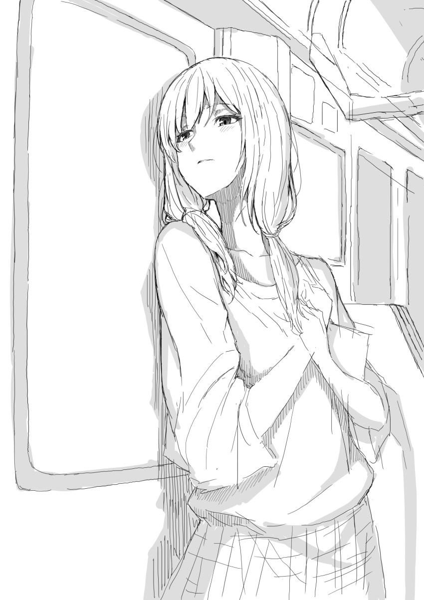 1girl blush casual hands_on_own_chest highres looking_to_the_side low_twintails monochrome parted_lips sketch solo tamura_yuri taniya train_interior twintails watashi_ga_motenai_no_wa_dou_kangaetemo_omaera_ga_warui!