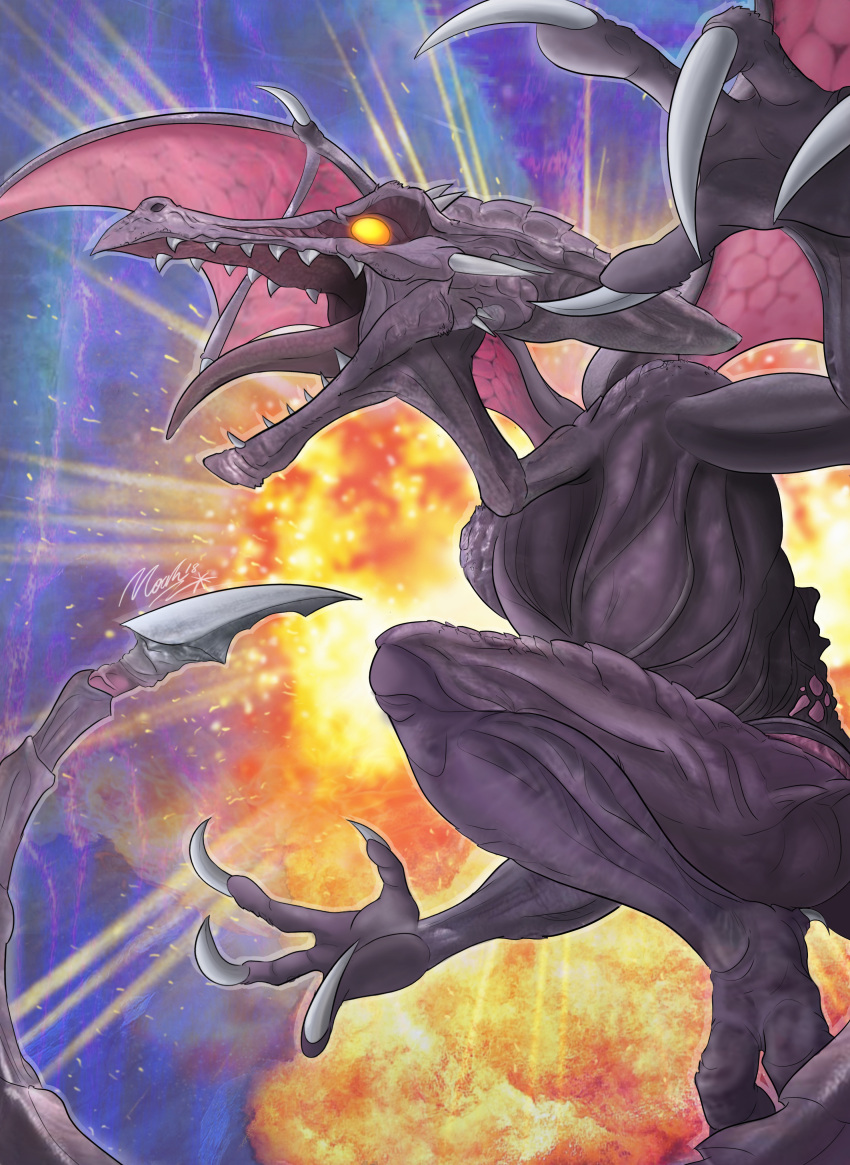 absurdres alien claws dragon explosion highres kihuntr3ss male_focus metroid monster no_humans ridley sharp_teeth signature solo spikes super_smash_bros. tail teeth tongue wings yellow_eyes