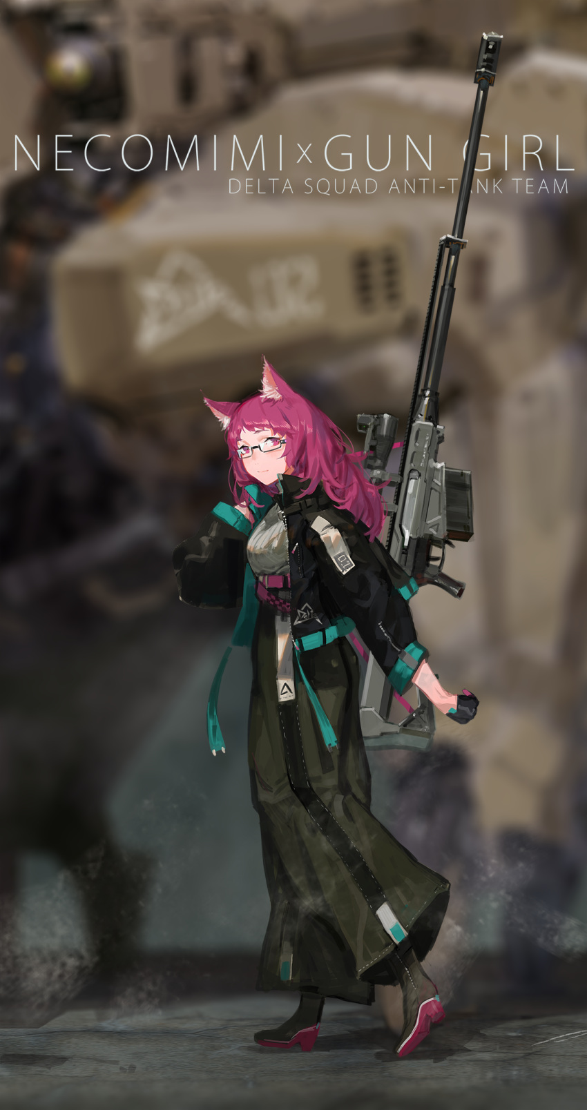 1girl animal_ears anti-materiel_rifle belt boots carrying_over_shoulder cat_ears full_body glasses gloves gun high_heels highres jacket long_hair looking_at_viewer mecha original pink_hair rifle science_fiction smile sniper_rifle tommy830219 walking wall weapon