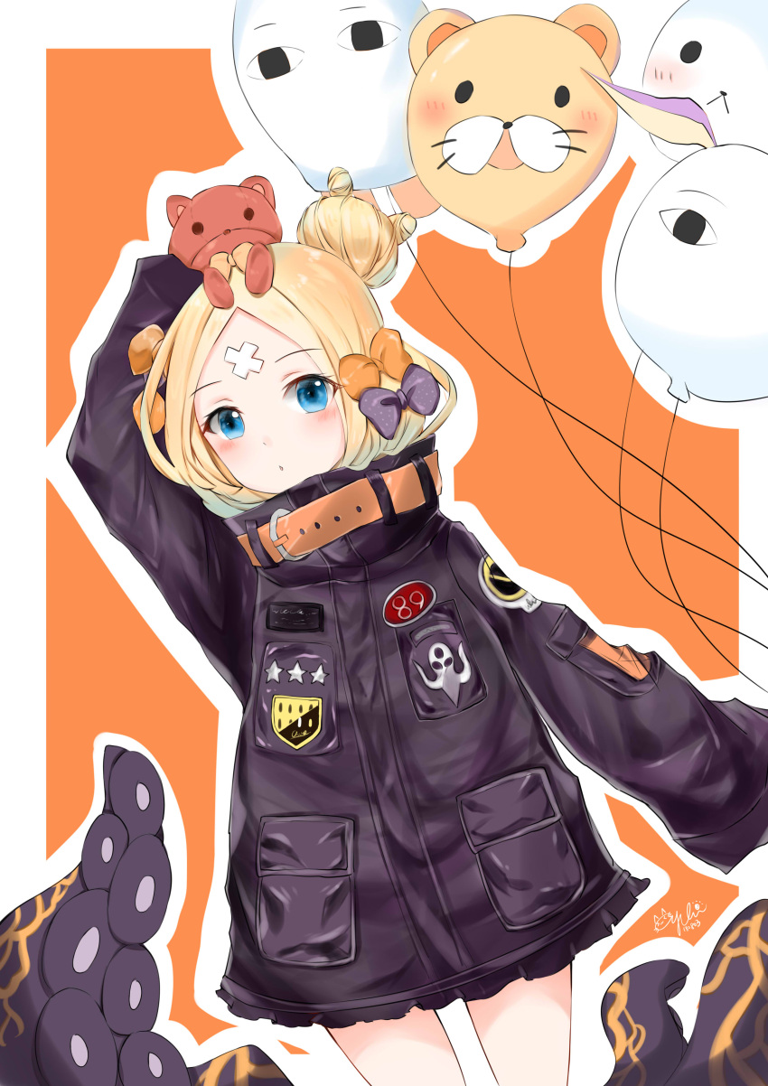 1girl abigail_williams_(fate/grand_order) absurdres arm_up balloon bangs black_bow black_jacket blonde_hair blue_eyes blush bow commentary_request dated dutch_angle eyebrows_visible_through_hair fate/grand_order fate_(series) hair_bow hair_bun highres jacket long_hair long_sleeves looking_at_viewer medjed on_head orange_bow outline parted_bangs polka_dot polka_dot_bow signature sleeves_past_fingers sleeves_past_wrists solo stuffed_animal stuffed_toy suction_cups teddy_bear tentacle white_outline yukineko1018