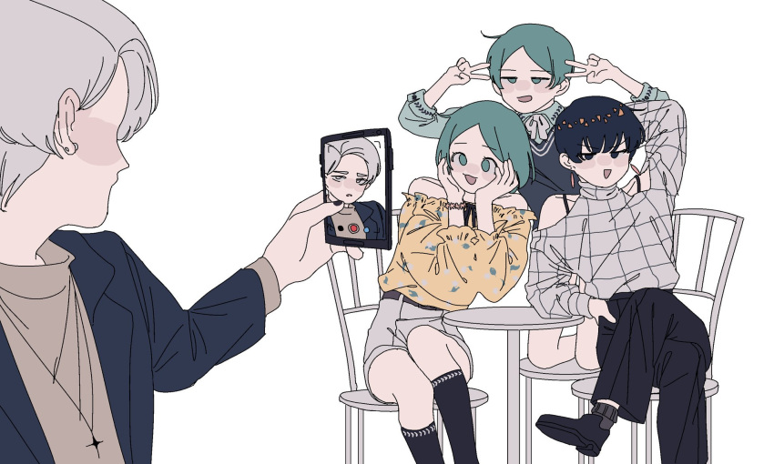 4others alternate_costume bangs bare_shoulders blue_hair bob_cut cairngorm_(houseki_no_kuni) casual cellphone chair diffndk double_v earrings green_eyes green_hair hands_on_own_cheeks hands_on_own_face highres houseki_no_kuni humanization jewelry kneeling legs_crossed multiple_others pale_skin parted_bangs phone phosphophyllite phosphophyllite_(ll) self_shot shirt short_hair silver_hair simple_background sitting smartphone table taking_picture v white_background yellow_shirt