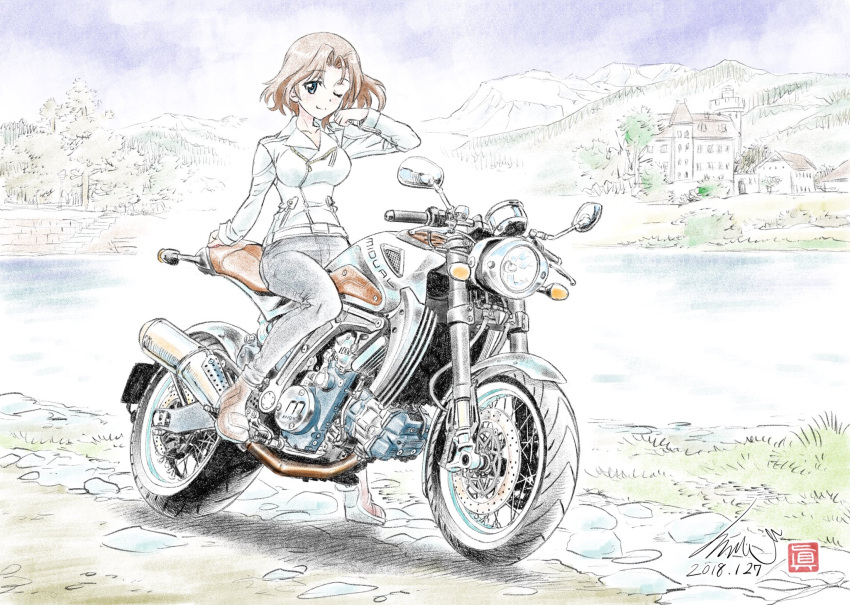 1girl ankle_boots arm_support artist_name azumi_(girls_und_panzer) black_pants blue_eyes blue_sky boots brown_footwear brown_hair casual closed_mouth clouds cloudy_sky dated day denim eyebrows_visible_through_hair girls_und_panzer ground_vehicle hair_intakes hand_in_hair highres jacket jeans kubota_shinji lake looking_at_viewer motor_vehicle motorcycle mountain one_eye_closed outdoors pants riding short_hair signature sitting sky smile solo tree vehicle_request watermark white_jacket