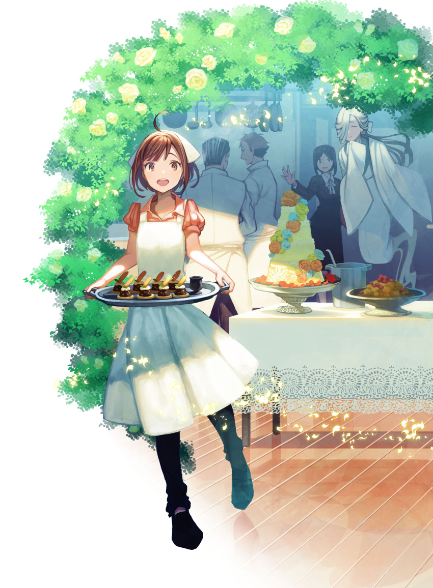 2girls 3boys :d ahoge apron black_footwear black_hair black_legwear brown_hair bush character_request check_copyright chubou_kara_wedding closed_eyes dessert flower food ghost hair_over_one_eye highres holding holding_tray kururi ladle looking_at_viewer multiple_boys multiple_girls official_art open_mouth outdoors porch pot short_sleeves smile standing table tray wedding_cake white_hair