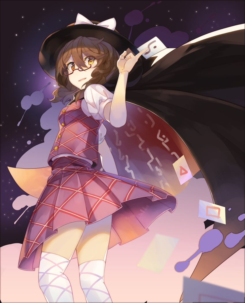 1girl absurdres black_cape black_hat bow breasts brown_hair cape card card_between_fingers commentary_request eyebrows_visible_through_hair fedora feet_out_of_frame from_below hair_between_eyes hat hat_bow high_collar highres holding holding_card looking_at_viewer low_twintails open_mouth pleated_skirt puffy_short_sleeves puffy_sleeves purple_skirt purple_vest revision rin_falcon shirt short_hair short_sleeves skirt small_breasts smile solo standing star_(sky) thigh-highs thighs touhou twintails usami_sumireko vest white_bow white_legwear white_shirt yellow_eyes