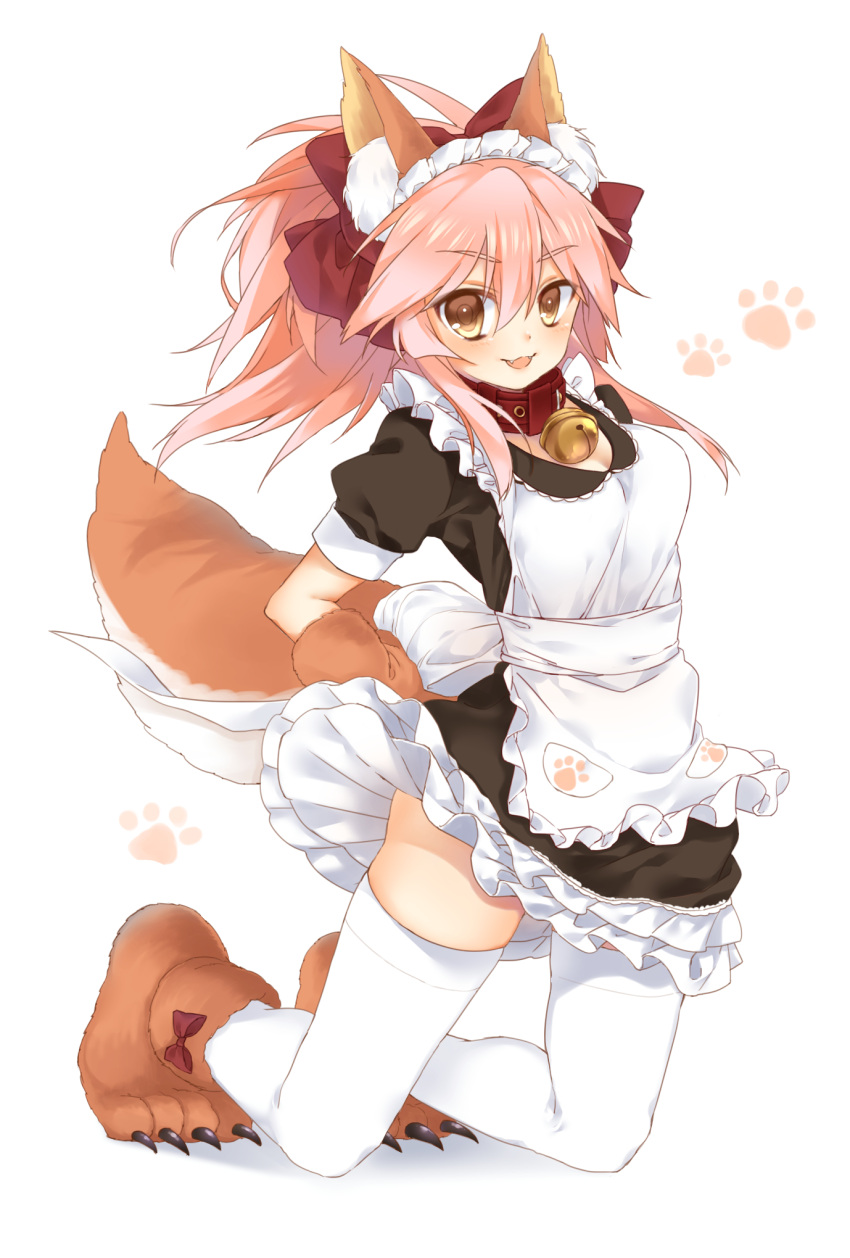1girl alternate_costume animal_ears apron bell bell_collar braid breasts cat_hair_ornament cat_paws cleavage collar commentary enmaided fangs fate/grand_order fate_(series) fox_ears fox_tail frills gloves hair_ornament highres jingle_bell looking_at_viewer maid maid_apron maid_headdress medium_breasts open_mouth paw_gloves paw_shoes paws pink_hair pukupoyo shoes simple_background solo tail tamamo_(fate)_(all) tamamo_cat_(fate) waist_apron white_background white_legwear