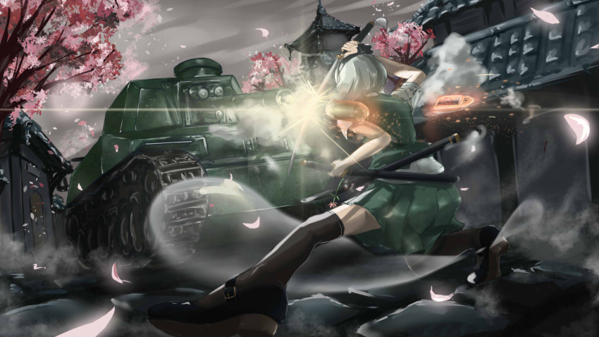 1girl black_hairband black_ribbon caterpillar_tracks cherry_blossoms clouds ghost green_skirt green_vest ground_vehicle hairband highres katana konpaku_youmu konpaku_youmu_(ghost) lolipantherwww military military_vehicle motor_vehicle ribbon short_hair silver_hair skirt sky sword tank touhou tree type_5_chi-ri vest weapon