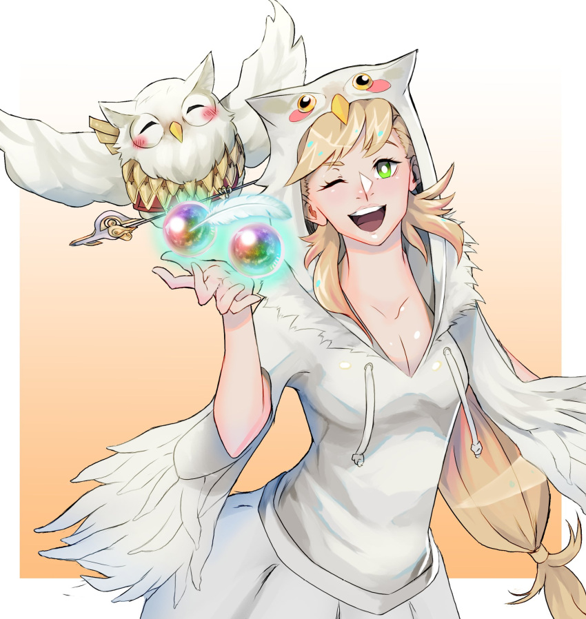 1girl art_cerealex bird blonde_hair blush braid breasts feh_(fire_emblem_heroes) fire_emblem fire_emblem_heroes green_eyes highres long_hair looking_at_viewer one_eye_closed open_mouth orb owl sharena simple_background smile solo white_background
