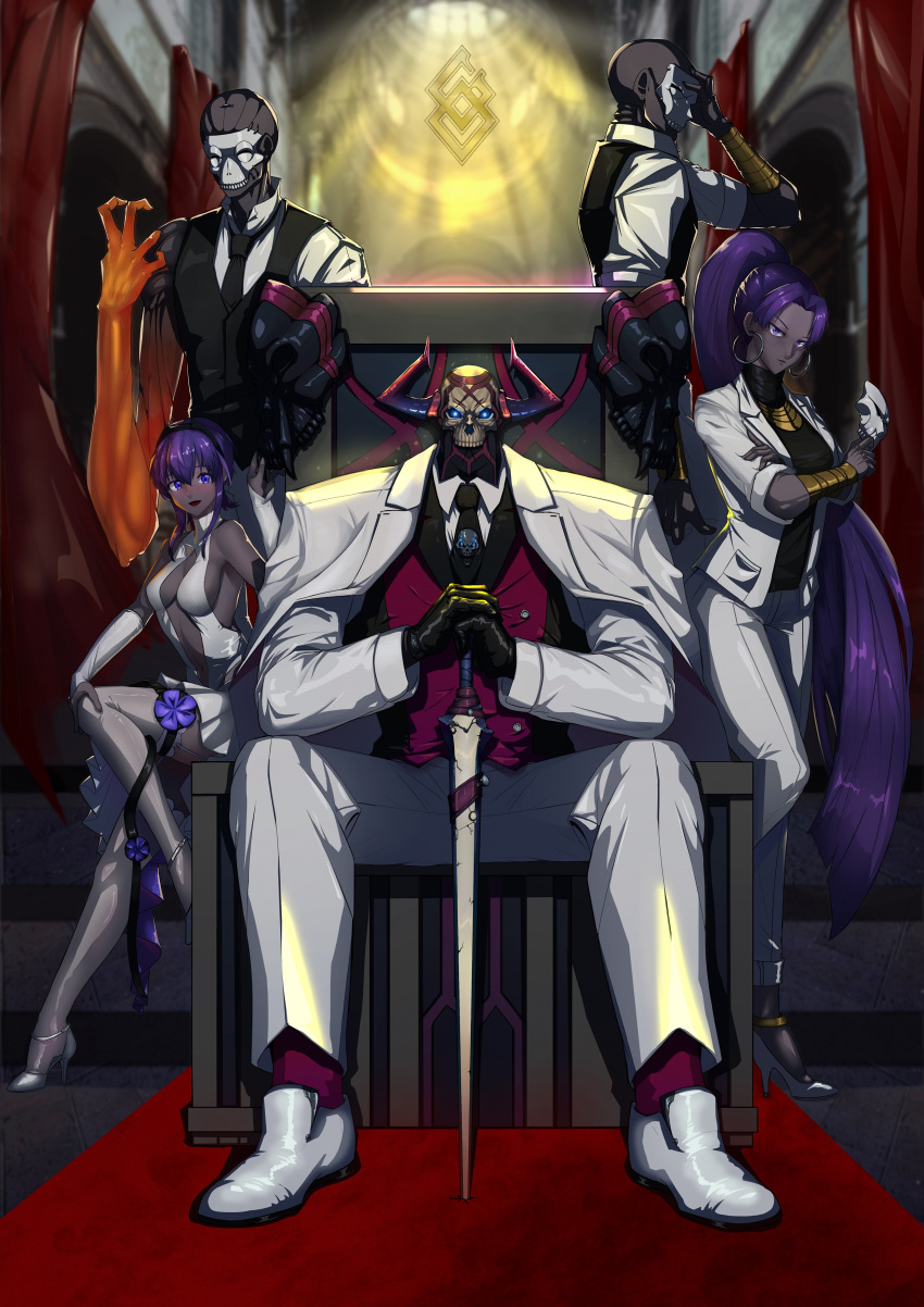 2girls 3boys absurdres armor assassin_(fate/zero) backless_outfit bare_shoulders breasts business_suit center_opening chair dark_skin earrings fate/grand_order fate/prototype fate/prototype:_fragments_of_blue_and_silver fate/stay_night fate/zero fate_(series) female_assassin_(fate/zero) fingerless_gloves formal gloves glowing glowing_eyes grey_skin hairband hassan_of_serenity_(fate) highres hoop_earrings jacket jewelry king_hassan_(fate/grand_order) leggings long_hair looking_at_viewer mask multiple_boys multiple_girls necktie pant_suit peco_(pixiv7926076) ponytail purple_hair sitting skull skull_mask smile suit sword throne true_assassin violet_eyes weapon white_jacket